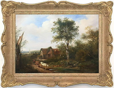 Cattle in a Rural Landscape Antique Oil Painting 19th Century English School