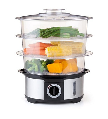 3 Tier Food Steamer 12L - Healthy Cooking - Inc. Steam Egg Socket & Rice Plate