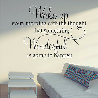 Wake Up Heart Family Wonderful Quote Wall Stickers Bedroom Removable Decals DIY