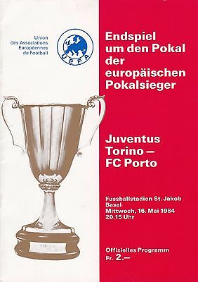 JUVENTUS v PORTO ~ ~ EUROPEAN CUP WINNERS' CUP FINAL 1984~ EXCELLENT  CONDITION