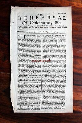 The Rehearsal And Observator Original Jacobite Newspaper June 1705 Number 47