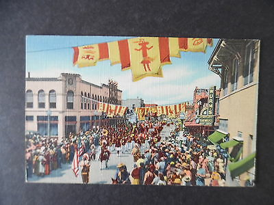 1940s Gallup New Mexico Street Scene Indian Ceremonial Parade Postcard