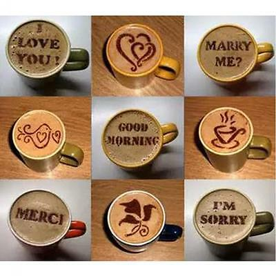 16pcs Cake Latte Cappuccino Decorating Coffee Art Stencils Foam Tool