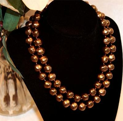 Vtg Signed MARVELLA Brown Faux Baroque Pearl Double Strand Necklace- Gorgeous