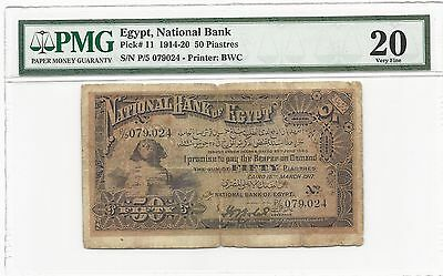 1917 Egypt 50 Piastres, National Bank Sphinx Issue, PMG 20 VF, P#11 Rare