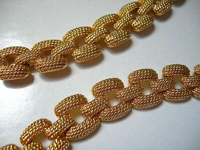 Vintage 1980s Chunky Chain Like Links Textured Gold Tone Collar Necklace