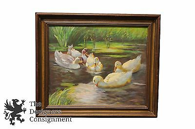 Alexander Koester Early 20th Century Oil on Canvas Landscape Painting Duck Pond