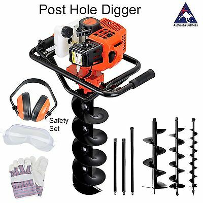 Post Hole Digger Petrol Earth Drill Augers 100 200 300 blades extensions 60 80