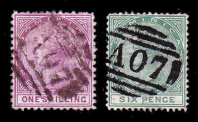 DOMINICA. SG 3 & 8, 1/- DULL MAGENTA & 6d GREEN. GOOD USED.