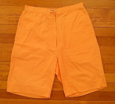 Stephen Sprouse 1980s Vintage Day Glo Orange Surfer Shorts Women's Size 8 Cotton