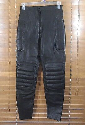 Spartans Black Leather Padded Motorcycle Riding Pants Size 30