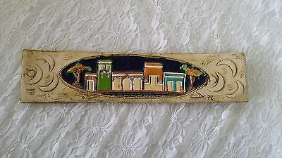 "Art Tile Middle Eastern Buildings Ceramic Wall Hanging Art Signed 15"" by 3.25"""