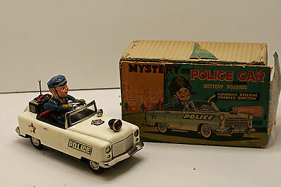 Vintage 1950's Tin Litho Battery Operated MYSTERY POLICE CAR, Japan W/ BOX