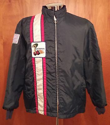Vtg 60s 70s Ford Shelby Cobra Rally Race Nylon Zipper Jacket wPatches Stripes Lg