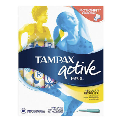 Tampax Pearl Active Plastic Unscented Tampons, Regular Absorbency 18 ea (5 pack)