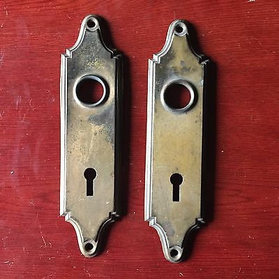 VTG Antique Pair Of  Art Noveau Stamped  Door Knob Backplates #B