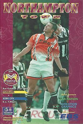 NORTHAMPTON TOWN v YORK CITY ~ 21 OCTOBER 1997 ~ EXCELLENT CONDITION