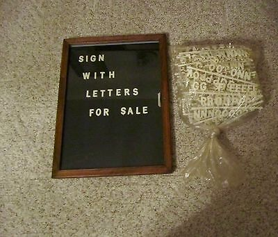 Vintage Changeable Letter Message Menu Board Price Sign W/ Wood Frame Glass Door