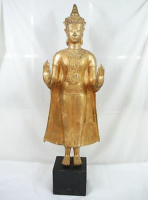 1 m Buddha Messing Antik alte Figur Skulptur Brass old Antique Vintage Figure
