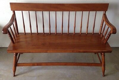 "VINTAGE S. Bent Bros Colonial Style Settee Deacon Bench 48"" entry porch decor"