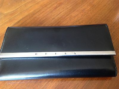 Guess Genuine  Black Leather Long Silmline Purse / Wallet