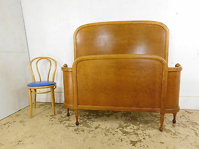 Antique 1920s Curly Birdseye Maple Curved Victorian Full Queen Size Bed