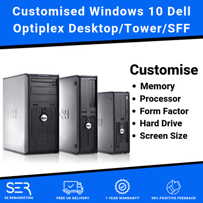 Customised Windows 10 Dell Core 2 Quad or Core 2 Duo Desktop/Tower PC Computers