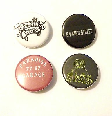 """Set of 4 1.25"""" Buttons Paradise Garage Larry Levan Disco Keith Haring NYC club"""