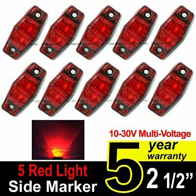 "10X 12V 24V LED Light 2.5"" Red Surface Clearance Truck Trailer Side Marker Light"