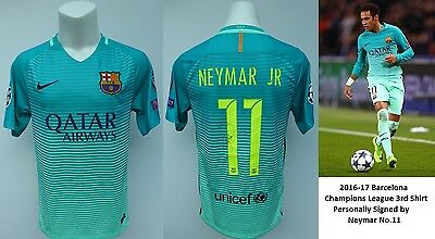 2016-17 Barcelona Champions League 3rd Shirt Signed by Neymar No.11 (11118)