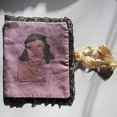 1920's Woman on Silk Black Lace Padded Diary Journal Diary Cover Hankie Holder
