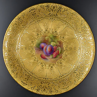 ROYAL WORCESTER Gold Encrusted Fruit Hand Painted Porcelain Plate HORACE PRICE