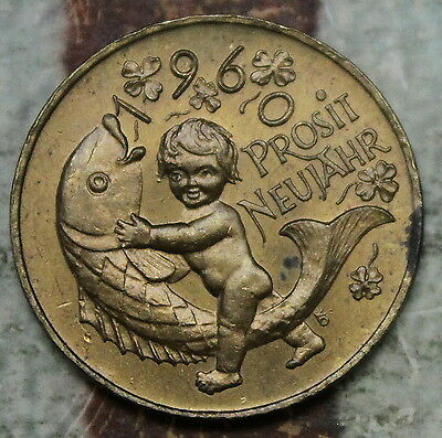 "Kappyscoins Idtok305  1960 German New Year Good Luck Token ""prosit Neujahr"""