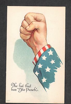 B198 postcard Patriotic 4th of July The fist that has the punch  Uncle Sam