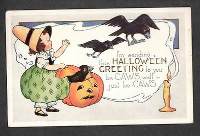B183 postcard Halloween Whitney child lets black crows out of jack-o-lantern