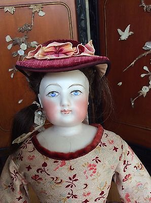 Early unmarked poss Barrois French fashion poupee doll enamelled eyes
