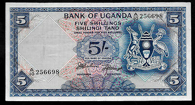 World Paper Money - Uganda 5 Shillings ND 1966 P1 @ VF