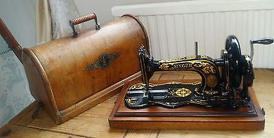 Antique Singer 12k Fiddle Base Hand Crank Sewing Machine With Case 1800s