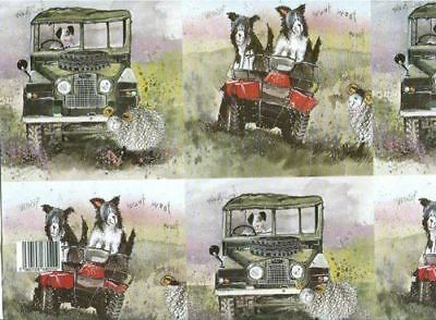 Alex Clark Border Collies & Land Rover Gift Wrapping Paper 2 Sheets 19.5 inches