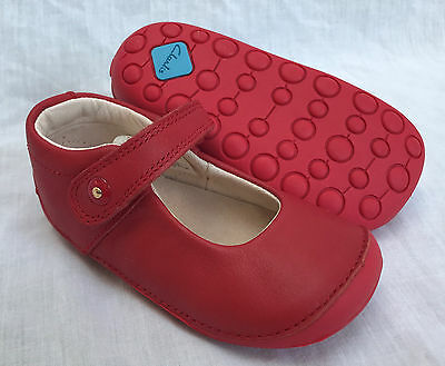 BNIB Clarks Girl Little Boo Red Leather Cruising First Shoes E/F/G/H