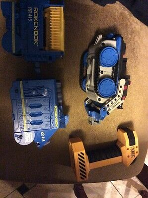 Lot Of Rokenbok Motorized RR415 RC Monorail Train & Police & Remote Rok Junior
