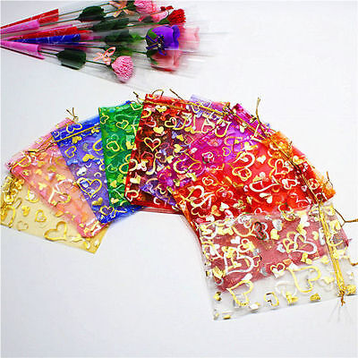 100 PCS Organza Jewelry Candy Gift Pouch Bags Wedding Party Xmas Favors Decor hc