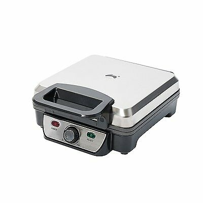 Ovation 1200W Stainless Steel 4 Slice Belgian Waffle Maker with Adjustable