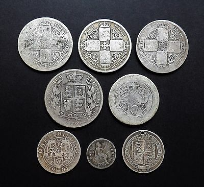 Victorian 925 Sterling Silver Coins Including One Florin and Half Crown Examples
