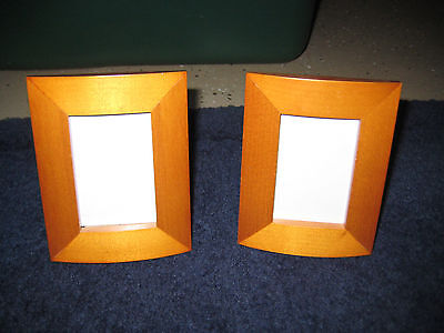 Set of 2 Small Matching Wood Picture Frames  - light wood