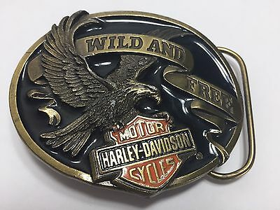 Authentic Heavy Harley Davidson Motorcycles Wild And Free Belt Buckle Eagle USA