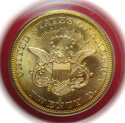 1857-S $20 Gold Double Eagle SS Central America 20A PCGS MS64 - Luster & Color!