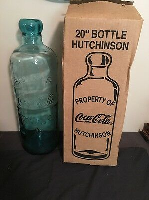 "Rare 20"" Embossed Property Of Coca Cola Bottling Co Glass Hutchinson Bottle NOS"