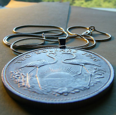 "Bahamas .925 Silver Flamingos 40mm Coin Pendant on a 22"" Italian 925 Snake Chain"