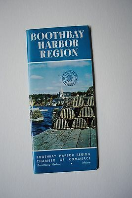 Vintage 1960's Boothbay Harbor Region Maine Brochure With Map Boating Capital